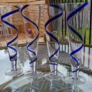 Pier 1 swirline cobalt blue glasses